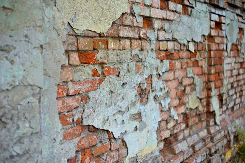 Red White Wall Background. Old Grungy Brick Wall Horizontal Texture. Brickwall Backdrop. Stonewall Wallpaper. Vintage Wall With Pe stock photo