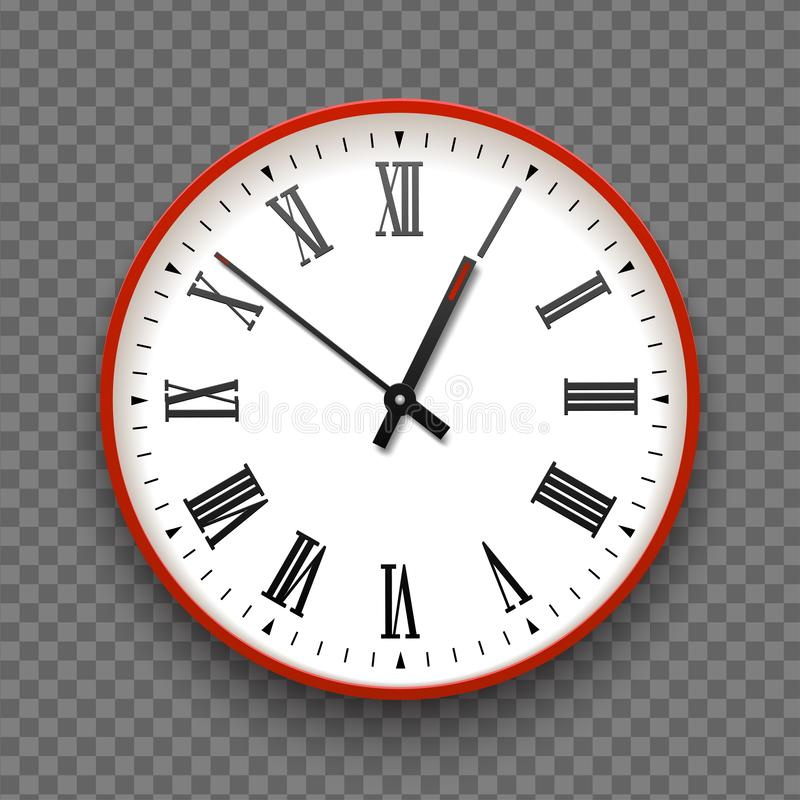 Red and white wall office clock icon with roman numbers. Design template vector closeup. Mock-up for branding and advertise stock photo