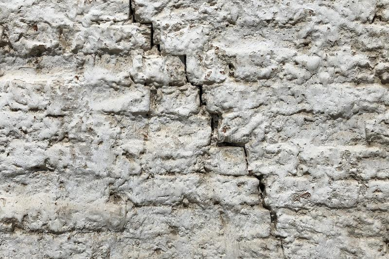 Red White Wall Texture. Old Cracked Brick Wall Horizontal Background. Brickwall Backdrop. White Red Stonewall Surface. Vintage Bri stock photography