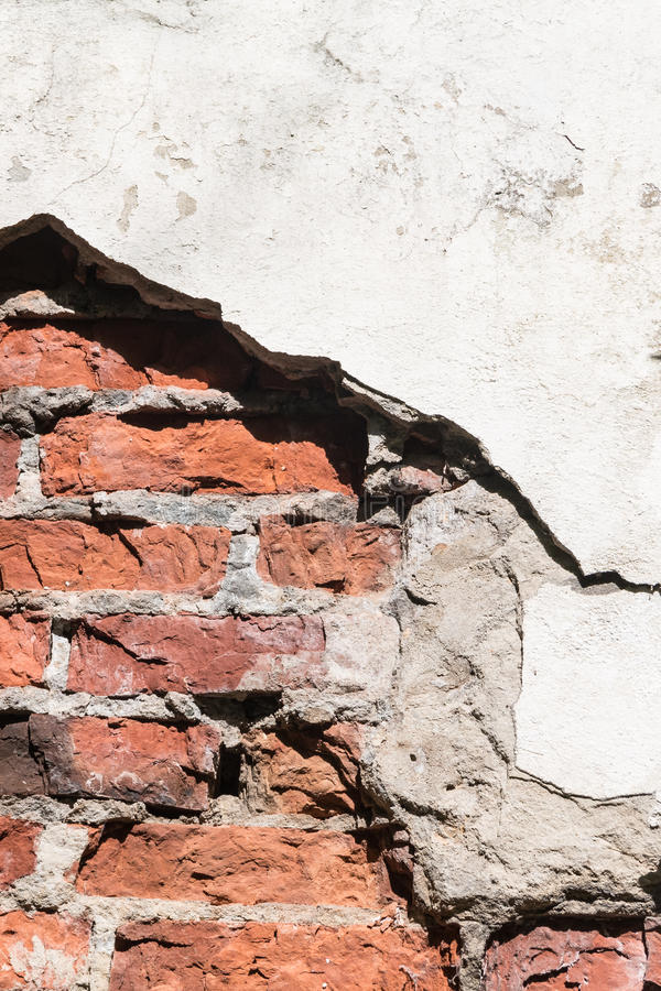 Red White Wall Texture. Old Cracked Plastered Brick Wall Background. White Red Stonewall Surface. Vintage Wall Structure stock photo