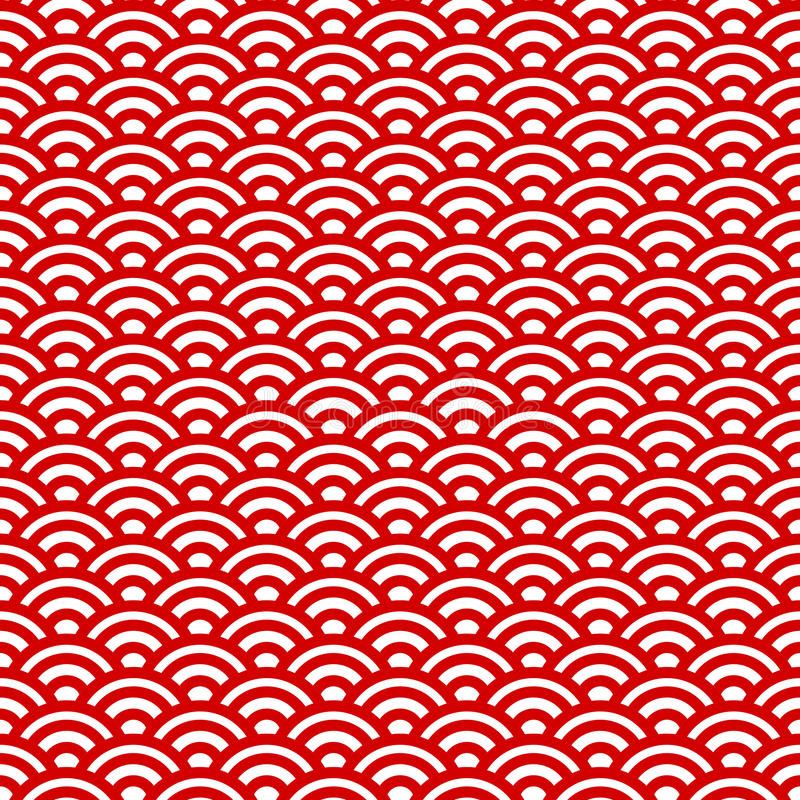 Red and white waves, japanese pattern stock illustration