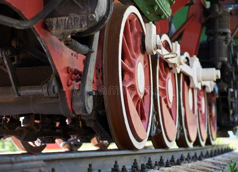Red and white wheels of the old steam locomotive royalty free stock photos