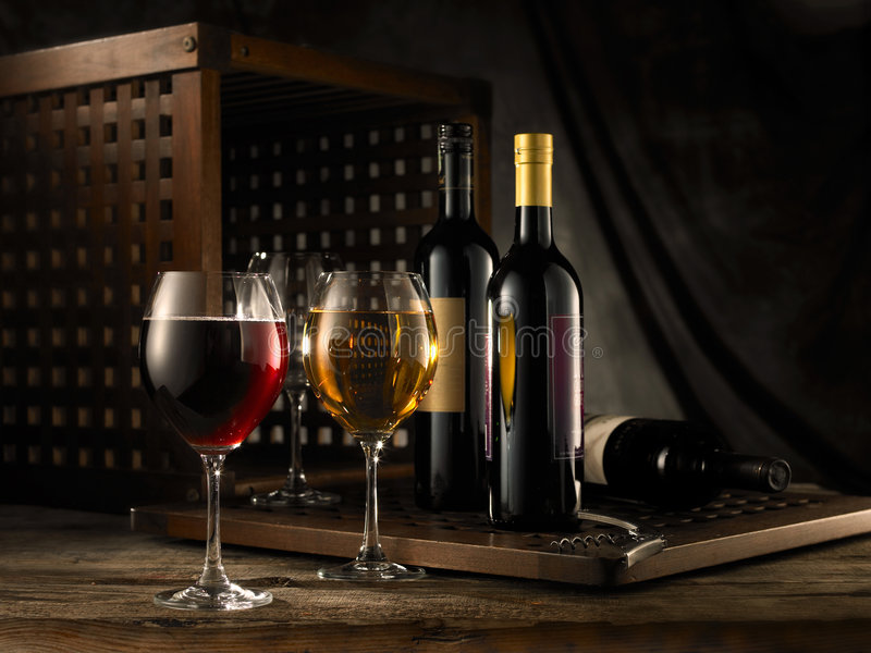 Red and white wine stock images