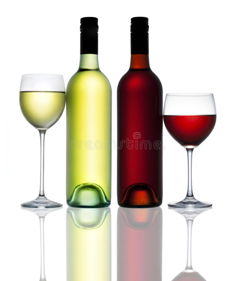 Red White Wine Bottle Glass. A bottle and glass of red and white wine on a white background with a reflection