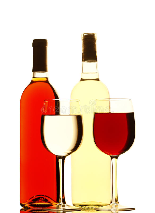 Download Red And White Wine Bottles And Filled Glasses Stock Photo - Image: 14874988