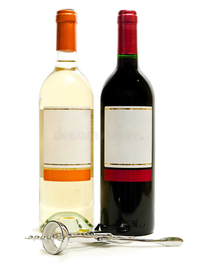 Red And White Wine With Corkscrew Royalty Free Stock Images