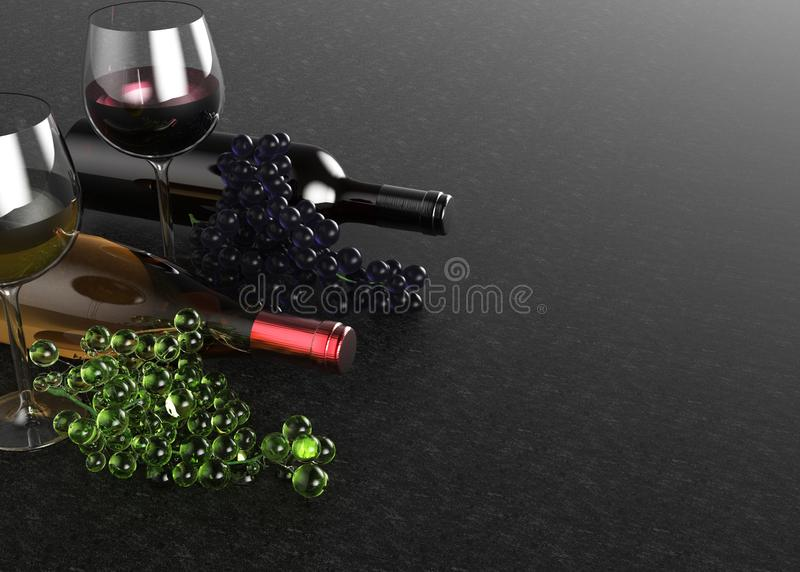 Red and white wine glasses and bottles. Grape on black background. 3d illustration. stock photography