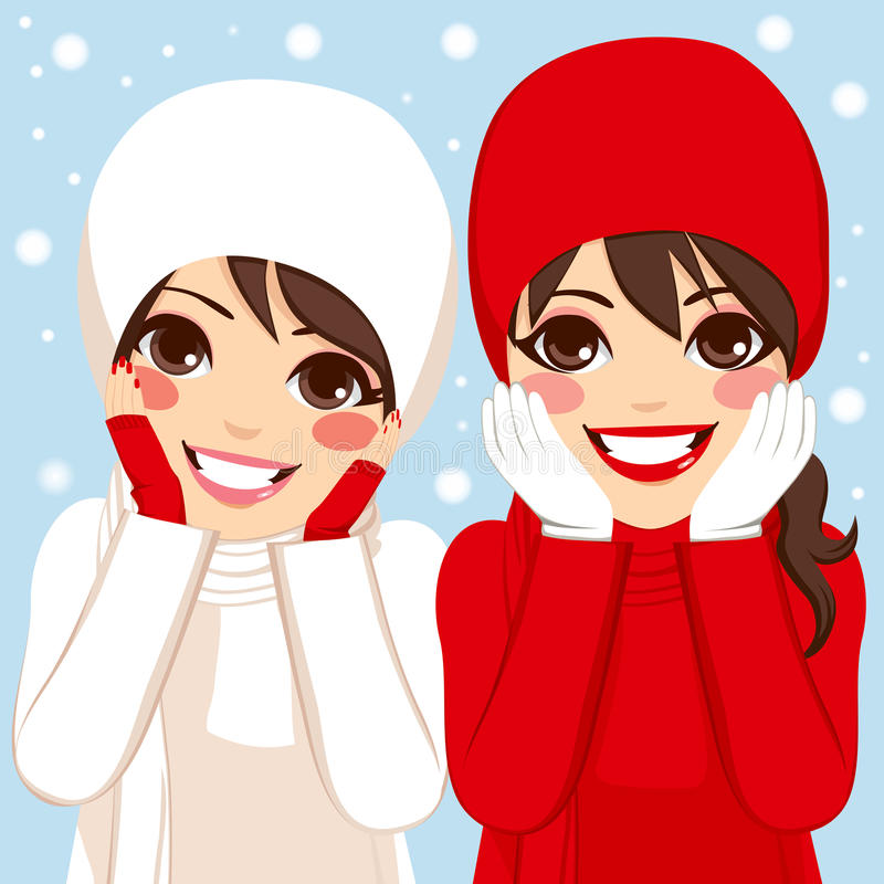 Red White Winter Friends stock illustration