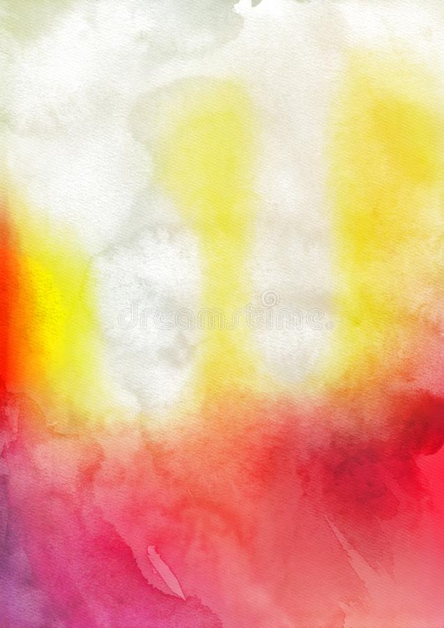 Red White and Yellow Grunge Watercolour Background stock images