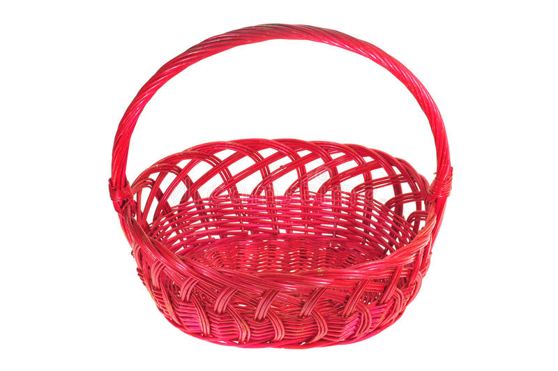 Red Wicker Basket With Handle