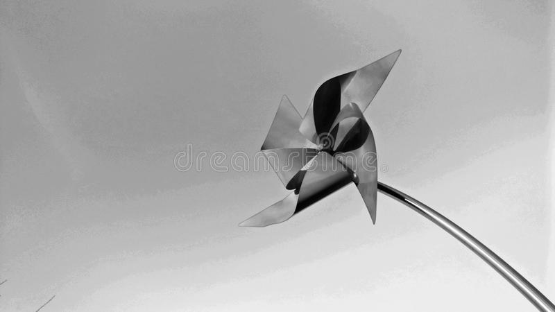 Red Windmill Postcard grayscale royalty free stock photo