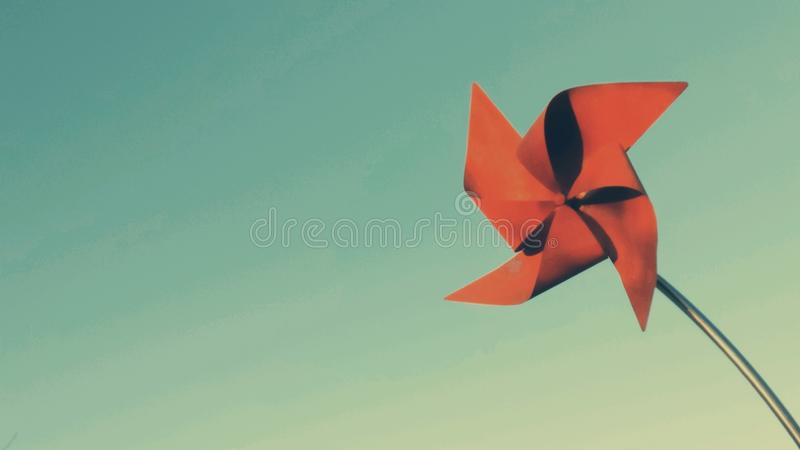 Red Windmill Postcard Golden Sun royalty free stock photography