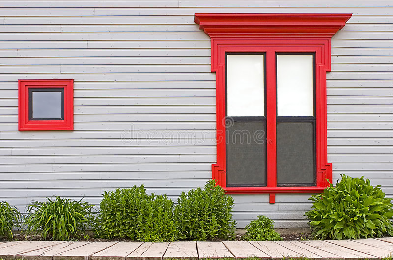 Download Red Window Frames stock photo. Image of boardwalk, wooden - 225756