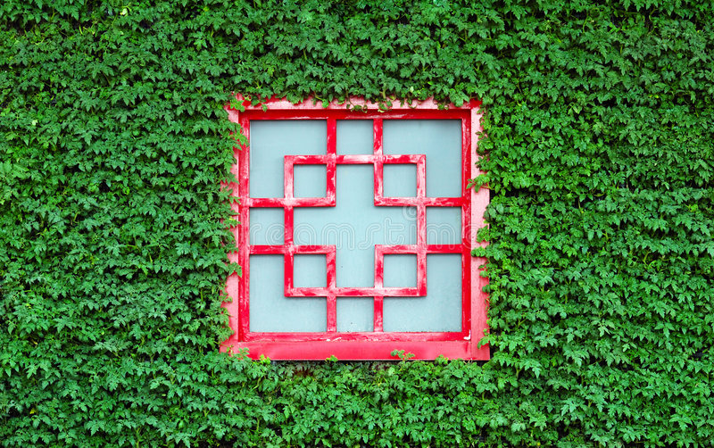 Download Red Window In Green Leaves Stock Photography - Image: 5059592