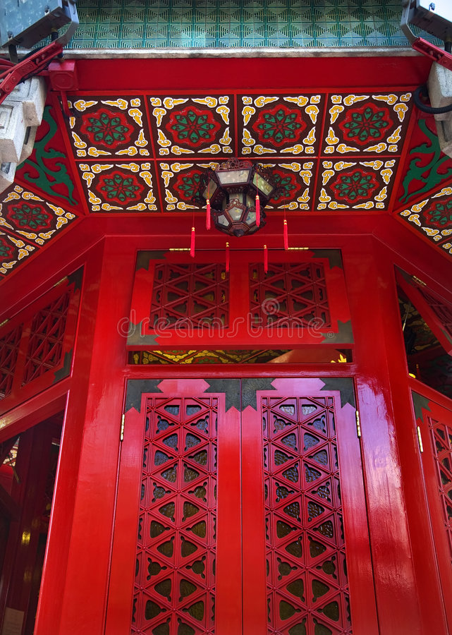 Red Window Wong Tai Sin Taoist Temple Hong Kong. Red Window Small Lantern Wong Tai Sin Taoist Good Fortune Temple Kowloon Hong Kong stock photography