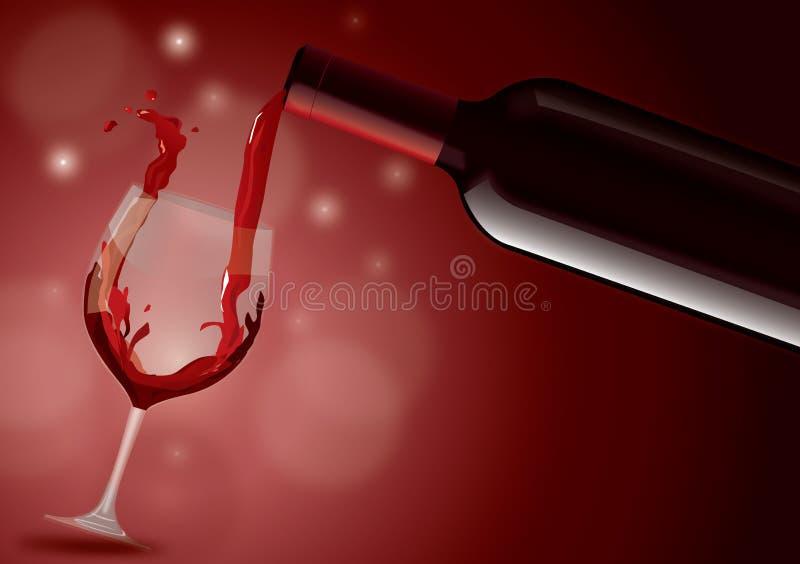 Red Wine. Filling glass illustration vector illustration