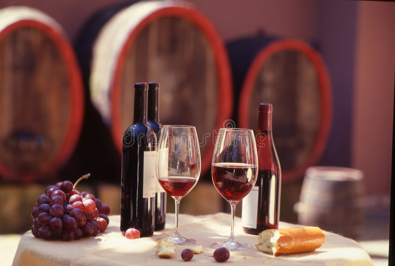 Red wine. Barrel with stillife stock photo