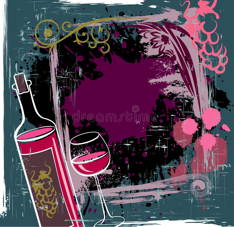 Download Red wine stock vector. Image of nouveau, bottle, drink - 8081634