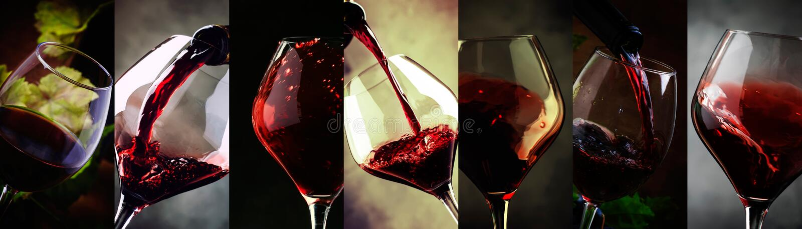 Red wine, alcohol collection in glasses. Wine tasting. Drink background. Close-up, Photo collage stock photo