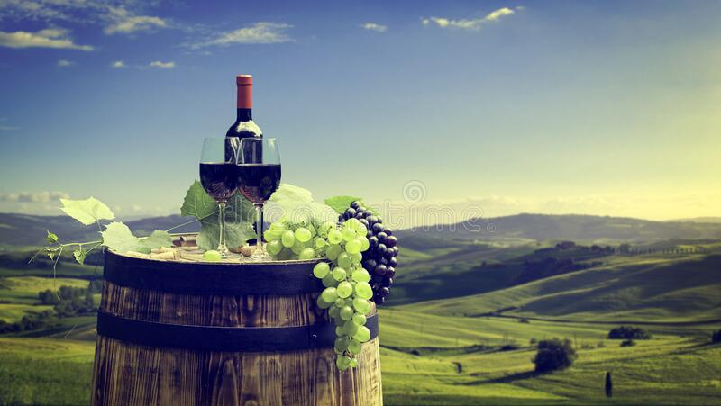 Red wine with barrel on vineyard in Chianti, Tuscany, Italy stock photo