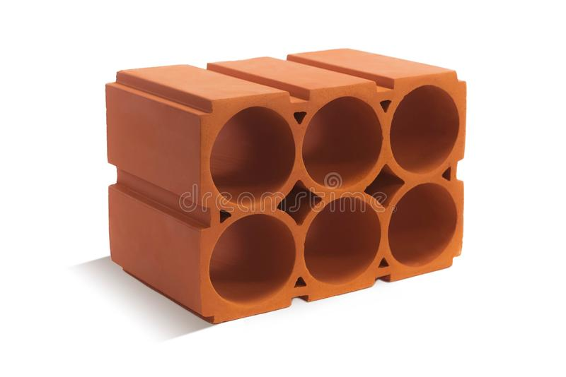 Red wine block brick block for wine on a white background. Ceramic block of a new development in the construction sector stock photo
