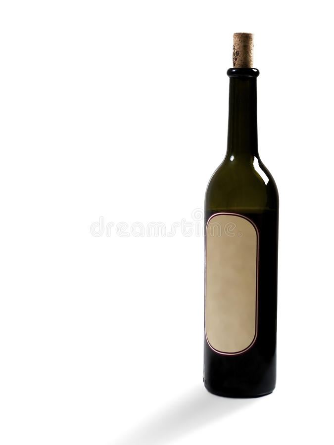Red wine bottle. One branch of the red wine bottle on the white background stock photo