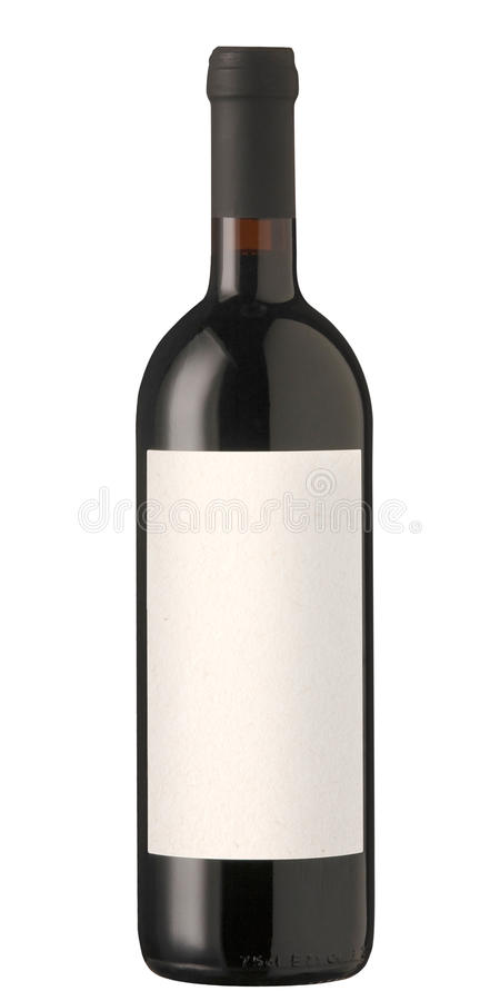 Red wine bottle with blank label. royalty free stock photography