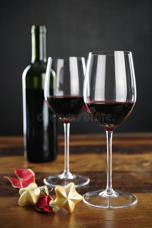 Download Red Wine, Bottle And Christmas Stars Stock Photo - Image: 33197600