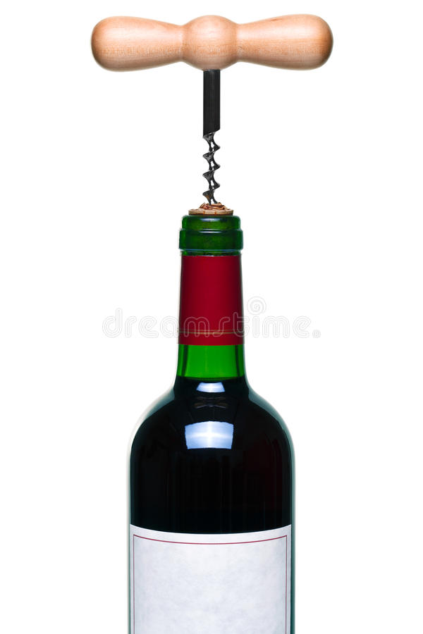 Red Wine Bottle And Corkscrew Isolated Stock Photography