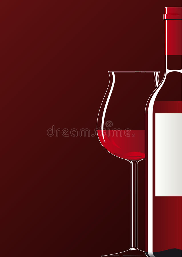 Red wine Bottle and Glass stock illustration