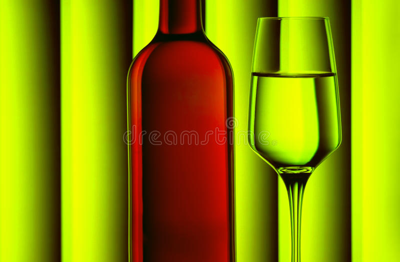 Red wine bottle and glass royalty free stock images