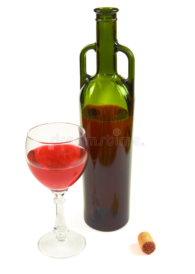 Red wine bottle, glass and stopper. On withe background stock photos
