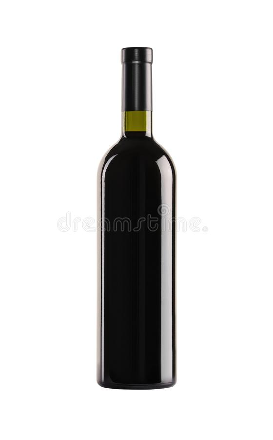 Red wine. Bottle of green glass. Red wine. Bottle of green glass without a label on a white background stock image