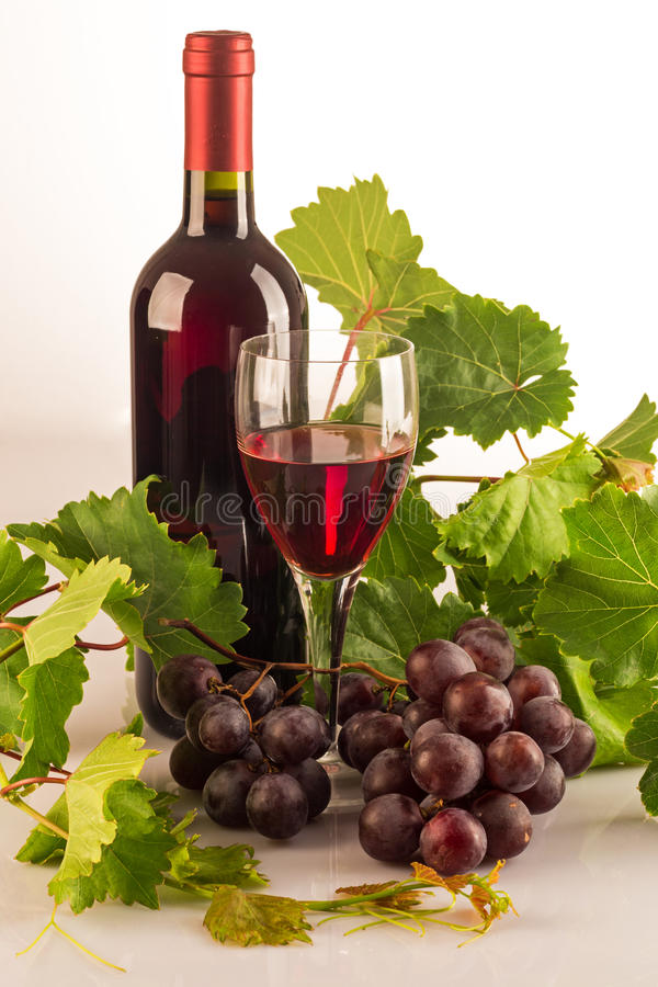 Red wine bottle with green vine leaves, grapes and a glass full of wine royalty free stock photography