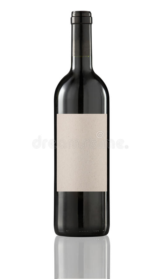 Red wine bottle isolated with blank label. royalty free stock photography