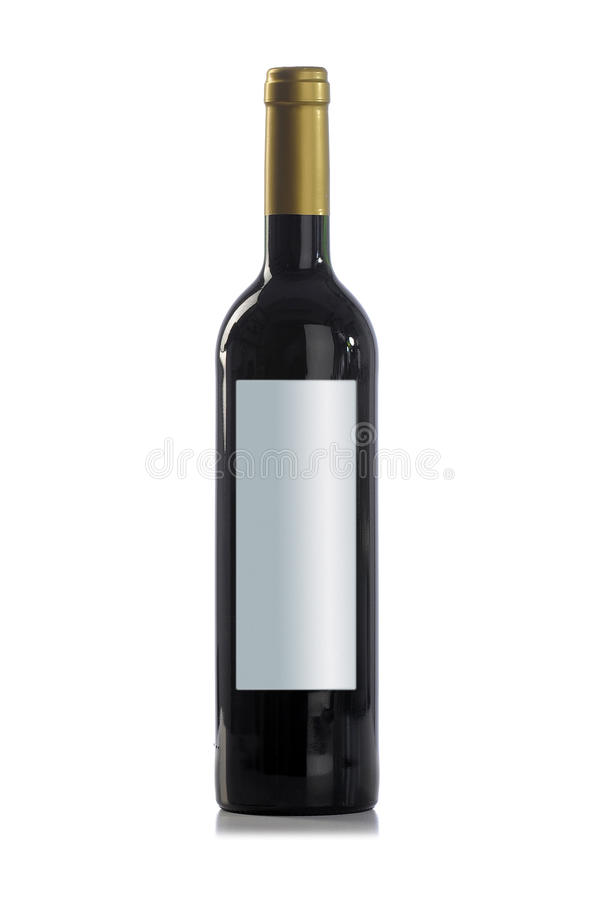 Red wine bottle with no label. Bottle of red wine with no text on the label, closed, white background, nice lighting royalty free stock photography