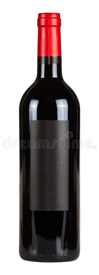 Free Red Wine Bottle With Black Blank Lable Isolated On White Background Royalty Free Stock Images - 162466289