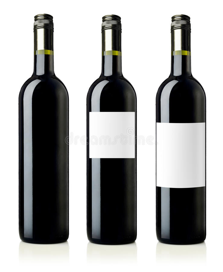 Red wine bottles with labels royalty free stock photos