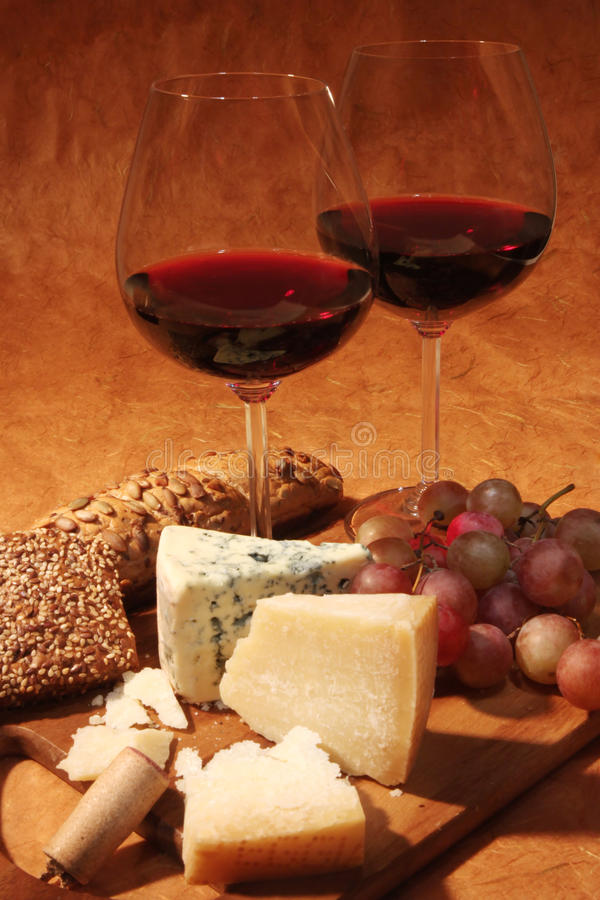 Red wine and cheese stock photography