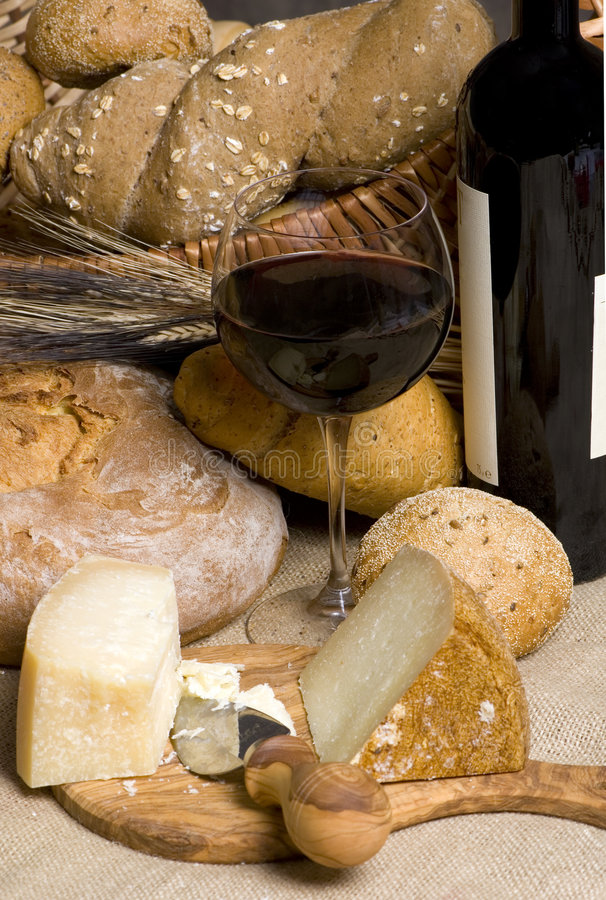 Red Wine with Cheese and Bread 2