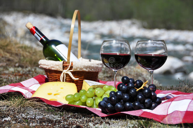Red wine, cheese and grapes royalty free stock image