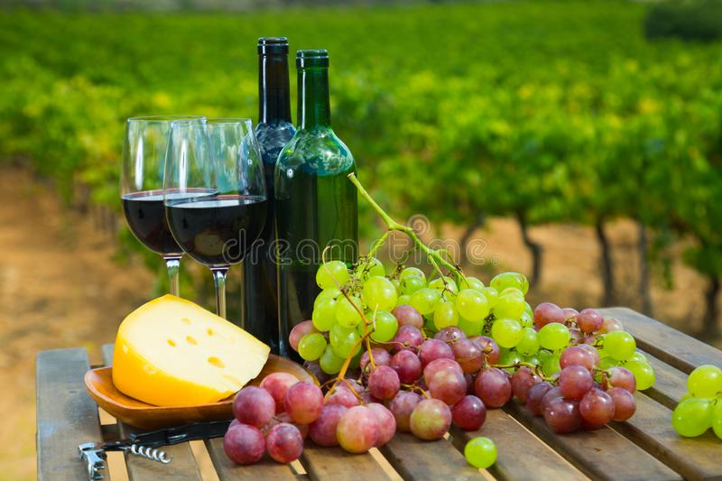 Red wine, cheese and grapes on wooden table stock image