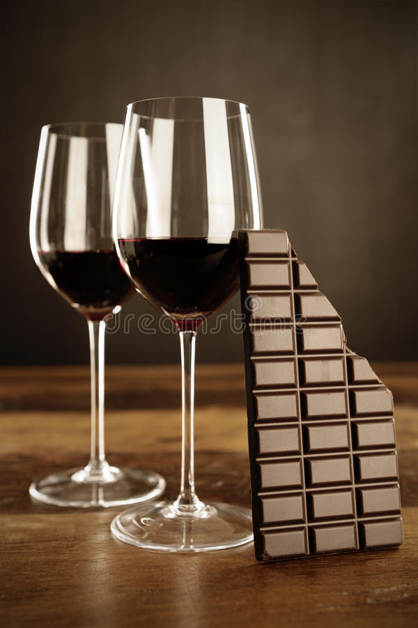 Red wine and chocolate bar royalty free stock photo