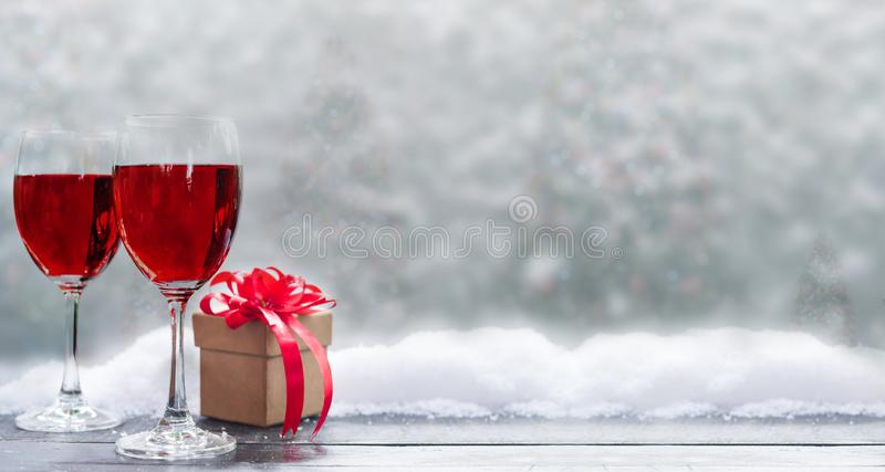 Red wine for Christmas and Happy New Year party. royalty free stock photography