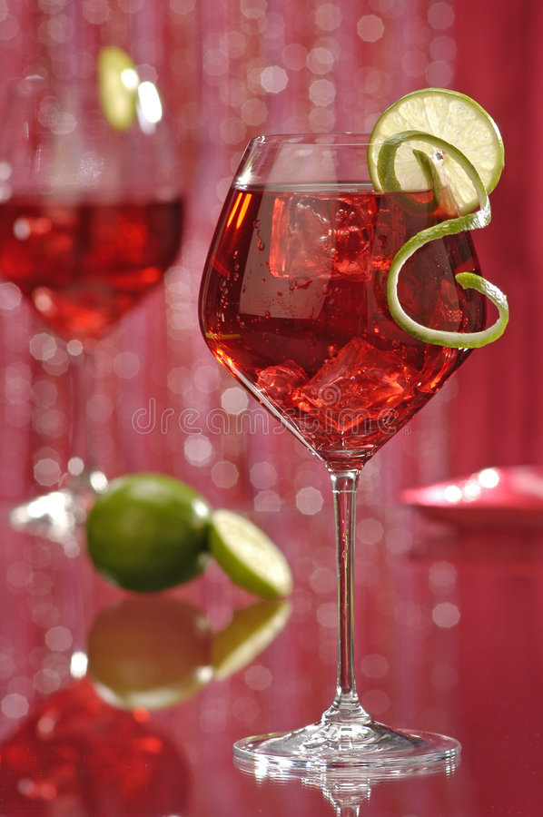 Download Red wine cocktails-2 stock photo. Image of lime, drinks - 229552