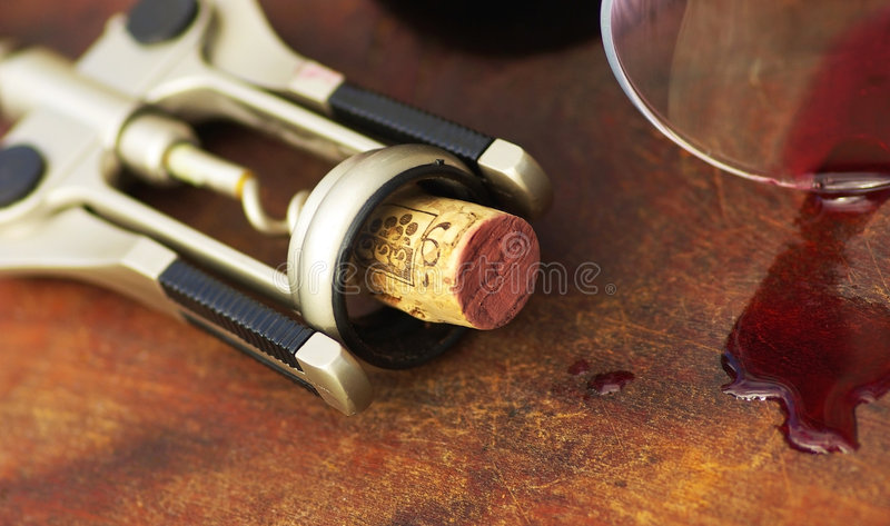 Red wine and cork. royalty free stock photos