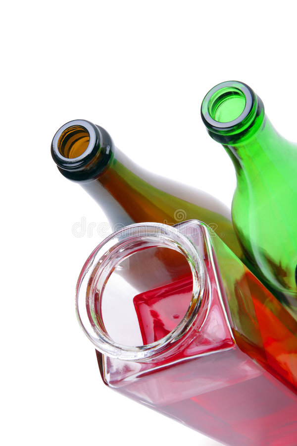 Red Wine and empty bottles. Isolated on white - with handmade clipping-path royalty free stock images