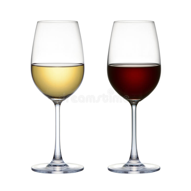 Free Red Wine Glass And White Wine Glass Isolated On A White Background Stock Photos - 46188393