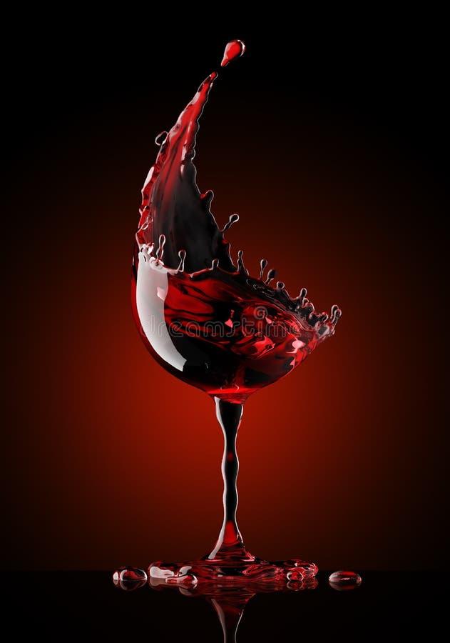 Red wine glass on black background royalty free illustration