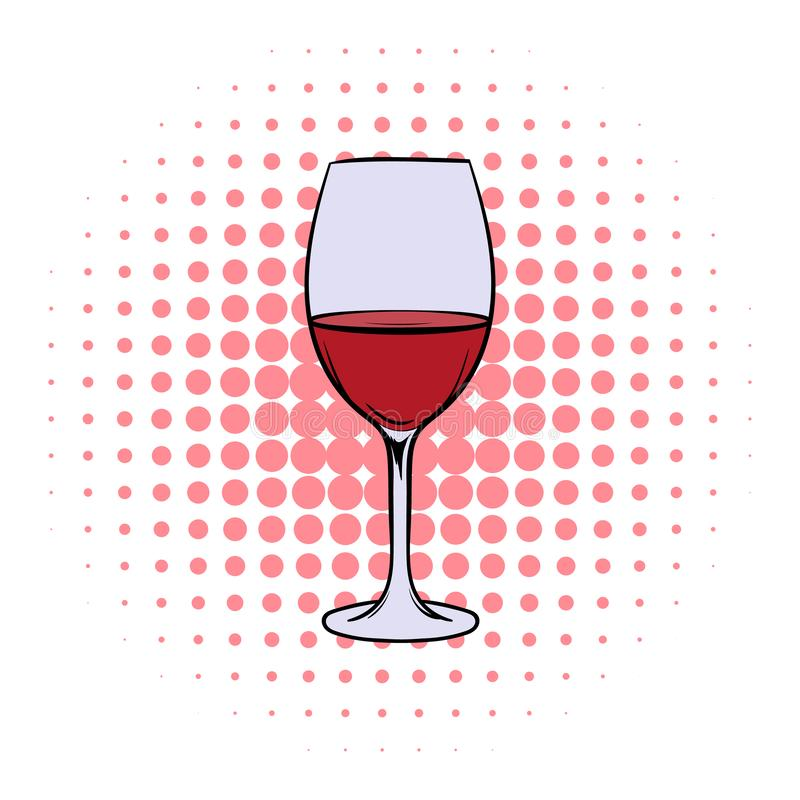 Red wine in glass comics icon. On a white background vector illustration